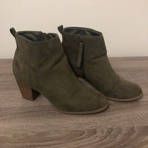 Army Green Zippered Heels